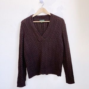 Vintage Lauren RL | Brown Cable Knit Sweater